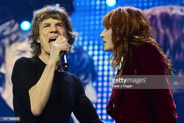 Mick Jagger of The Rolling Stones and Florence Welch perfom at The O2 Arena on November 29 2012 in London England