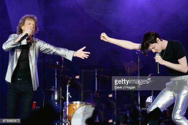 Mick Jagger of The Rolling Stones and James Bay perform live on stage during the 'No Filter' tour at Twickenham Stadium on June 19 2018 in London...