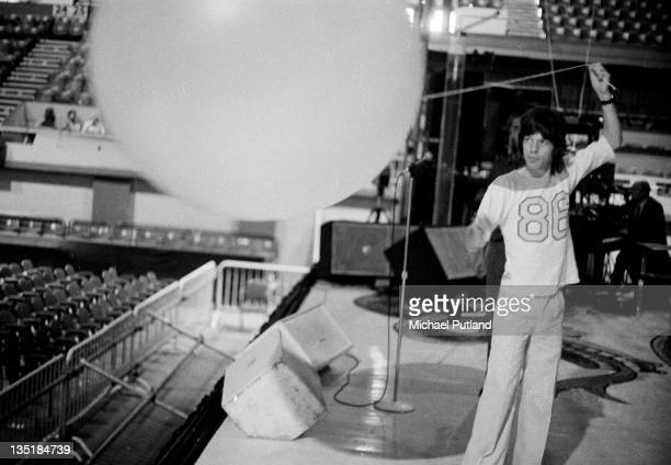 Mick Jagger of the Rolling Stones during a soundcheck at Wembley Empire Pool London 7th September 1973