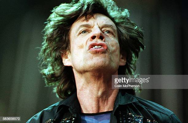 Mick Jagger of the Rolling Stones in concert at Murrayfield Stadium Edinburgh The English band whose music was initially based on rhythm and blues...