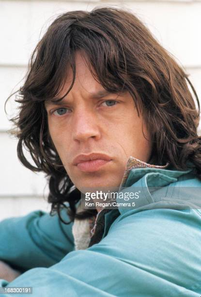 Mick Jagger of the Rolling Stones is photographed at artist Andy Warhol's home in 1975 in Montauk, New York. CREDIT MUST READ: Ken Regan/Camera 5 via...
