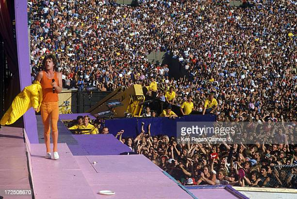 Mick Jagger of the Rolling Stones is photographed on stage at Wembley Stadium on June 2526 1982 in London England CREDIT MUST READ Ken Regan/Camera 5...