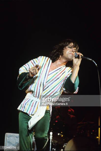 Mick Jagger of the Rolling Stones is photographed on stage during the Rolling Stones Tour of the Americas in the summer of 1975 CREDIT MUST READ Ken...