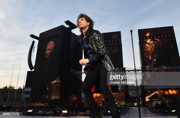 Mick Jagger of The Rolling Stones perform live on stage on the opening night of the european leg of their No Filter tour at Croke Park on May 17 2018...
