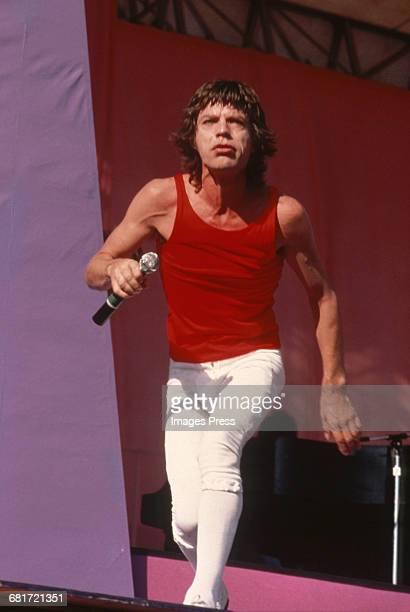 Mick Jagger of the Rolling Stones performing on stage at JFK Stadium circa 1981 in Philadelphia Pennsylvania