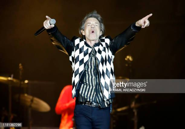 Mick Jagger of the Rolling Stones performs as they resume their No Filter Tour North American Tour at the Soldier Field on June 21 2019 in Chicago