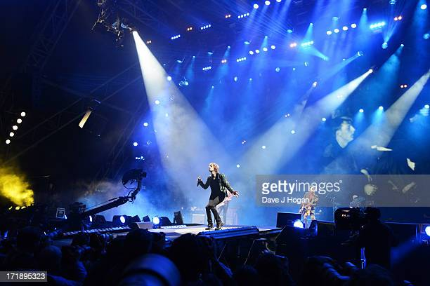 Mick Jagger of The Rolling Stones performs at day 3 of the 2013 Glastonbury Festival at Worthy Farm on June 29 2013 in Glastonbury England