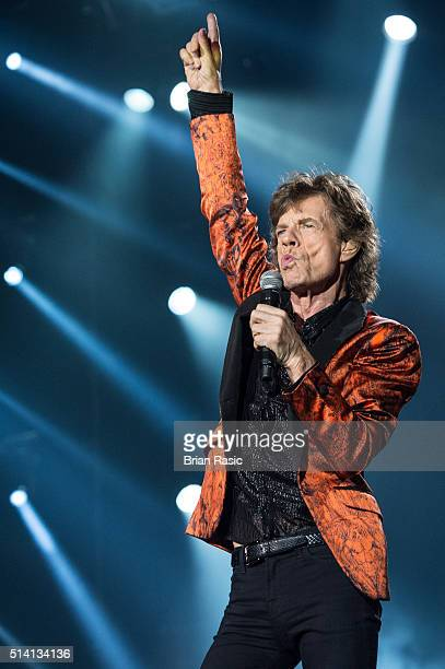 Mick Jagger of The Rolling Stones performs at Estadio Monumental on March 6 2016 in Lima Peru