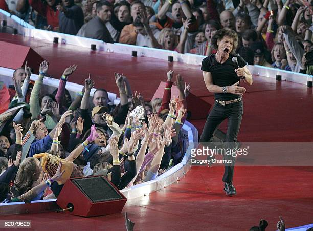Mick Jagger of The Rolling Stones performs at halftime during Super Bowl XL between the Pittsburgh Steelers and Seattle Seahawks at Ford Field in...