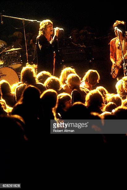 Mick Jagger of The Rolling Stones performs during the Altamont Speedway Free Festival at the Altamont Speedway on December 6 1969 in Altamont...