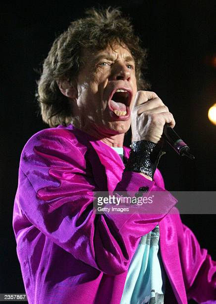 Mick Jagger of the Rolling Stones performs during the SARS relief concert held at Downsview Park July 30, 2003 in Toronto, Canada. An estimated...