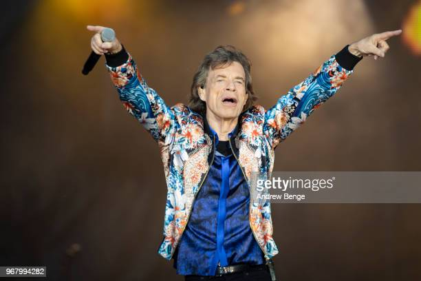 Mick Jagger of The Rolling Stones performs live on stage at Old Trafford on June 5 2018 in Manchester England