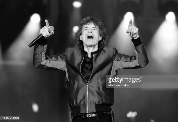Mick Jagger of the Rolling Stones performs live on stage at St Mary's Stadium on May 29 2018 in Southampton England