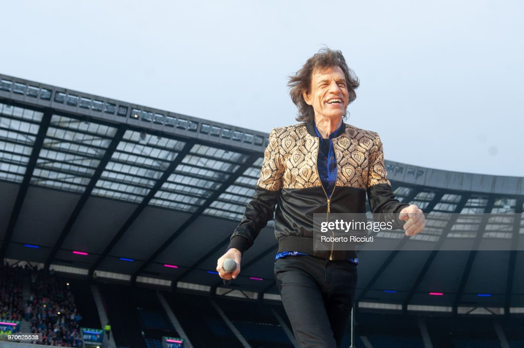 Mick Jagger of The Rolling Stones performs live on stage at Murrayfield Stadium on June 9, 2018 in Edinburgh, Scotland.