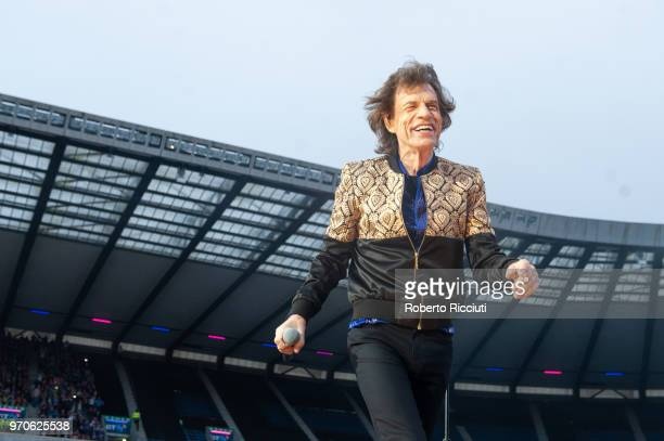 Mick Jagger of The Rolling Stones performs live on stage at Murrayfield Stadium on June 9 2018 in Edinburgh Scotland