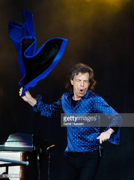 Ronnie Wood Keith Richards and Mick Jagger of The Rolling Stones perform on stage at the Principality Stadium on June 15 2018 in Cardiff Wales