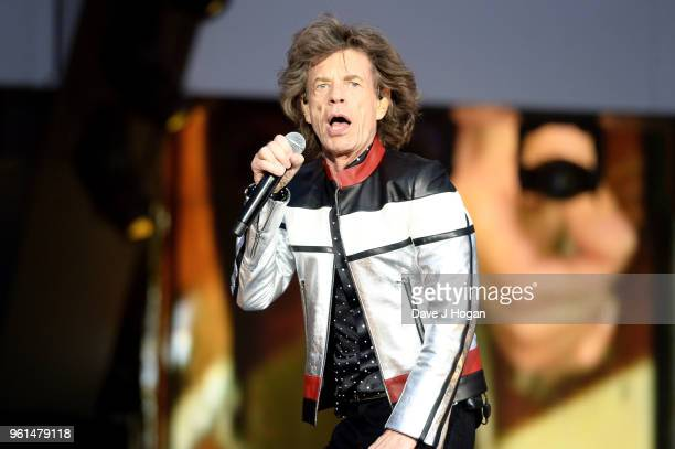 Mick Jagger of The Rolling Stones performs live on stage during the 'No Filter' tour at London Stadium on May 22 2018 in London England