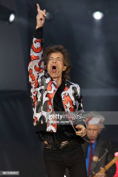 Mick Jagger of The Rolling Stones performs live on stage during the 'No Filter' tour at The London Stadium on May 25 2018 in London England