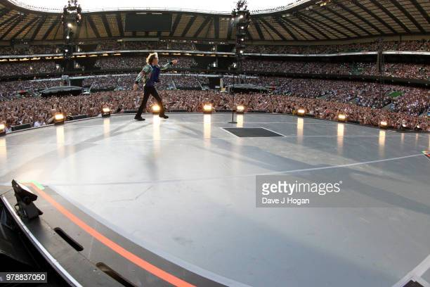 Mick Jagger of The Rolling Stones performs live on stage during the 'No Filter' tour at Twickenham Stadium on June 19 2018 in London England