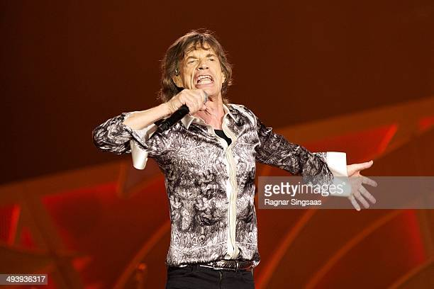 Mick Jagger of The Rolling Stones performs live on stage on May 26 2014 in Oslo Norway