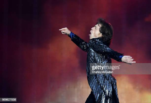 Mick Jagger of The Rolling Stones performs live on stage on the opening night of the european leg of their No Filter tour at Croke Park on May 17...