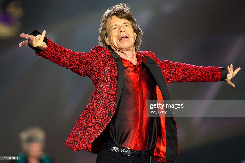 Mick Jagger of The Rolling Stones performs live onstage at The Indianapolis Motor Speedway on July 4, 2015 in Indianapolis, Indiana.