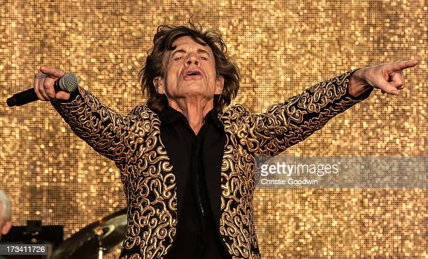 Mick Jagger of The Rolling Stones performs on stage at British Summer Time Festival at Hyde Park on July 13 2013 in London England
