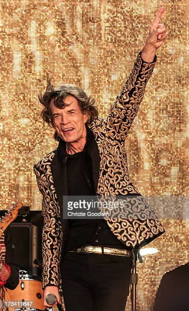 Mick Jagger of The Rolling Stones performs on stage at British Summer Time Festival at Hyde Park on July 13, 2013 in London, England.