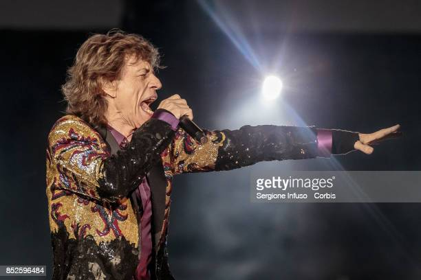 Mick Jagger of The Rolling Stones performs on stage during Lucca Summer Festival 2017 on September 23 2017 in Lucca Italy