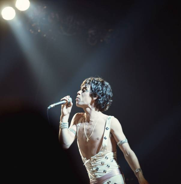 Mick Jagger of the Rolling Stones performs on stage...