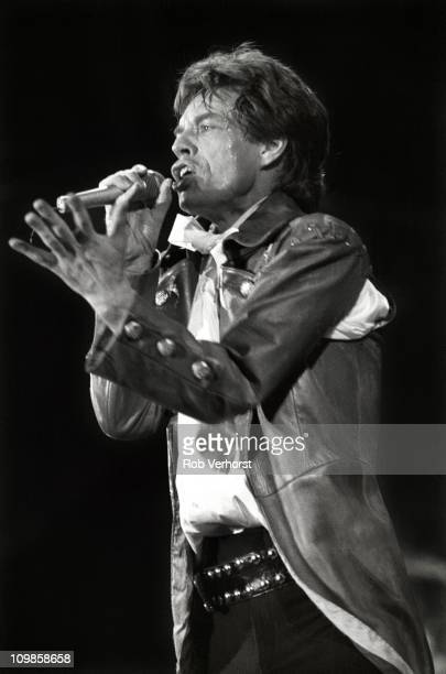 Mick Jagger of The Rolling Stones performs on stage on the Steel Wheels Tour at the Veterans Stadium Philadelphia USA 31st August 1989