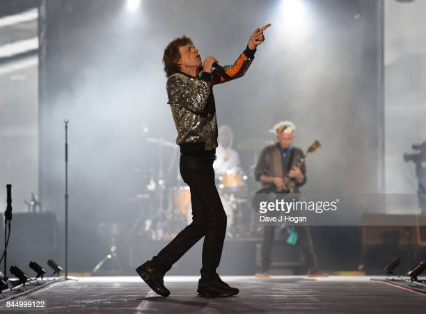Mick Jagger of The Rolling Stones performs on the opening night of their European 'No Filter' tour on September 9 2017 in Hamburg Germany
