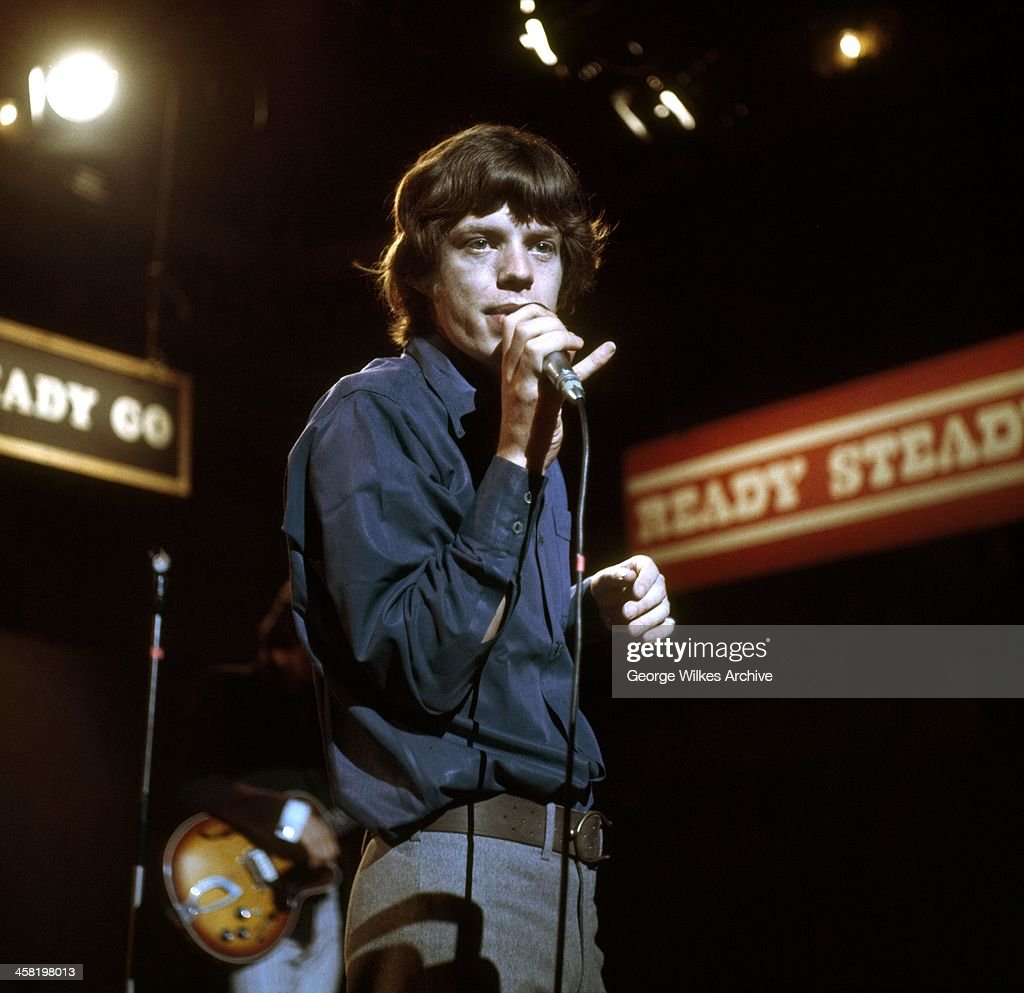 Mick Jagger of The Rolling Stones photographed during a TV performannce of Ready Steady Go! The band formed in London in 1962 were in the vanguard of the British rock 60's and 70's revolution.