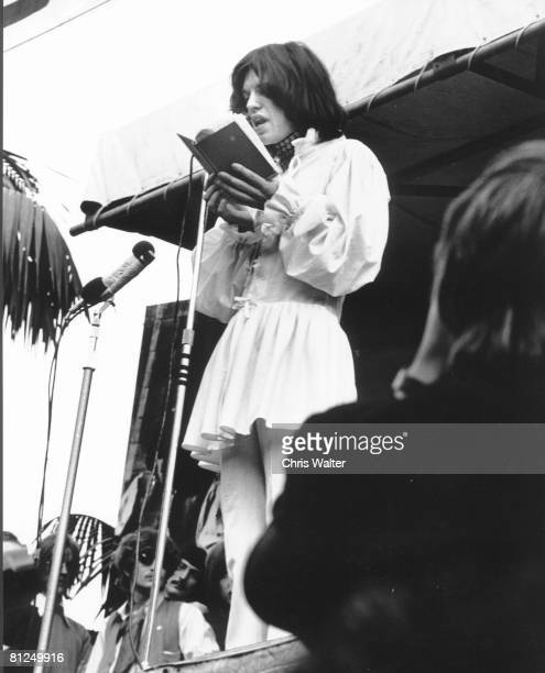 Mick Jagger of the Rolling Stones reads a Shelley poem in tribute to late guitarist Brian Jones Hyde Park London 1969