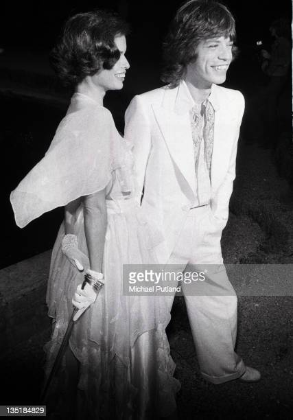 Mick Jagger of the Rolling Stones with his wife Bianca at a promotional party for the band's album Goats Head Soup Blenheim Palace Oxfordshire 6th...