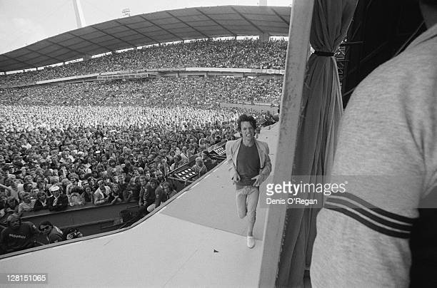 Mick Jagger on stage at a Rolling Stones concert at the Ullevi stadium Gothenburg Sweden June 1982