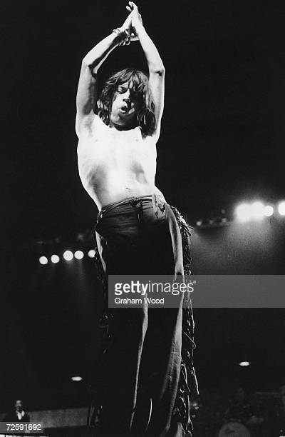 Mick Jagger on stage with the Rolling Stones as they play the last date on their 1976 European tour at the Knebworth Fair festival 21st August 1976
