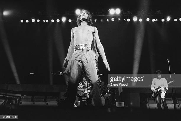 Mick Jagger on stage with the Rolling Stones as they play the last date on their 1976 European tour at the Knebworth Fair festival 21st August 1976...