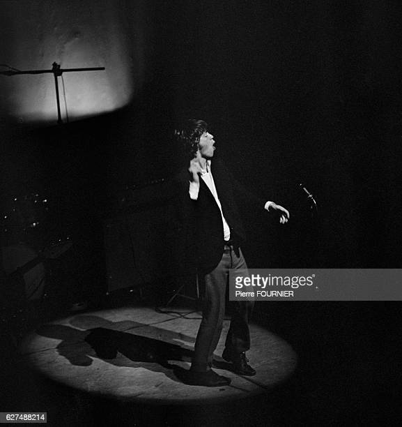 Mick Jagger performing with legendary band The Rolling Stones at the Olympia music hall