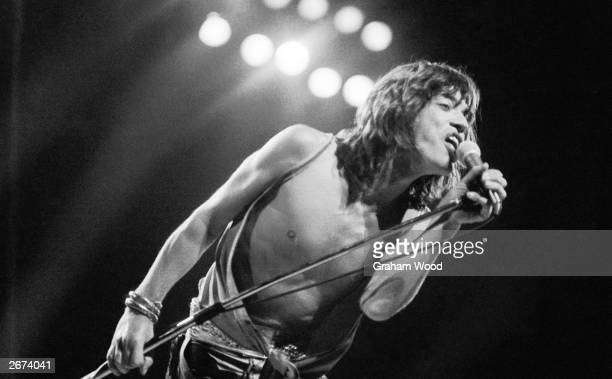 Mick Jagger performing with the Rolling Stones at the Knebworth Festival Hertfordshire 21st August 1976