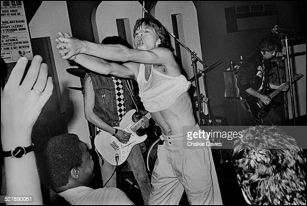 Mick Jagger performing with the Rolling Stones during a surprise gig at the 100 Club London 10th May 1982 The concert is a warmup for the group's...