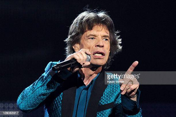 Mick Jagger performs onstage during The 53rd Annual GRAMMY Awards held at Staples Center on February 13 2011 in Los Angeles California
