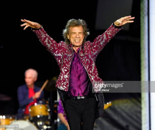 Mick Jagger performs onstage during The Rolling Stones NO FILTER tour on August 01 2019 in East Rutherford New Jersey