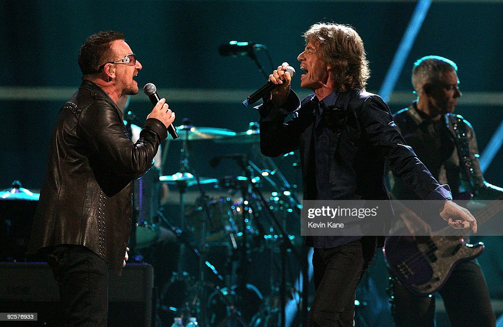 Mick Jagger Performs Onstage With Bono Of U2 At The 25th Anniversary Rock  Roll Hall Of