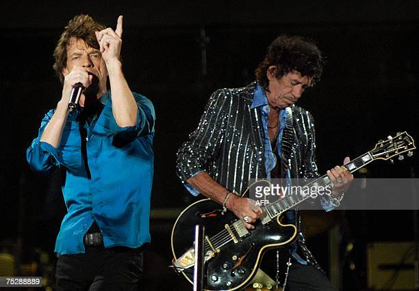 Mick Jagger performs with guitarist Keith Richards on stage at the beach Jaz near the Adriatic town of Budva 65 km south of Montenegro's capital...