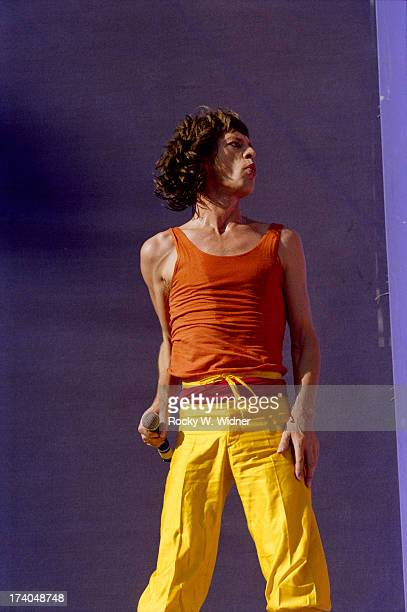 Mick Jagger performs with The Rolling Stones in concert at Candlestick Park on October 18 1981 in San Francisco California