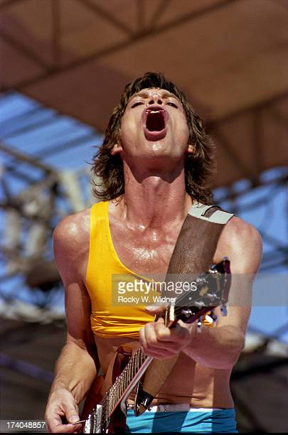 Mick Jagger performs with The Rolling Stones in concert at Candlestick Park on October 17 1981 in San Francisco California