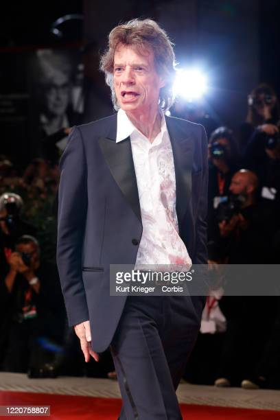 Mick Jagger photographed on the red carpet for the screening of 'The Burnt Orange Heresy' during the 76th Venice Film Festival on September 7 2019 in...