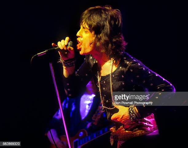 Mick Jagger Rolling Stones performing at The Boston Garden July 18 1972 Mick Taylor on guitar in background