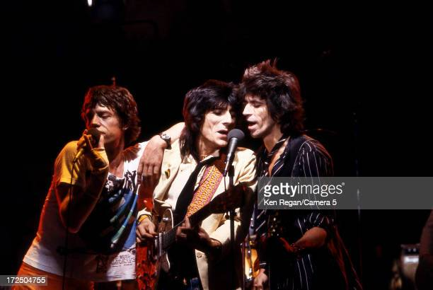 Mick Jagger Ron Wood and Keith Richards of the Rolling Stones are photographed performing on Saturday Night Live on October 7 1978 in New York City...